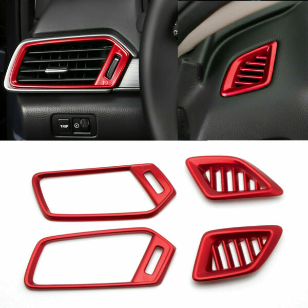 For Honda Accord 2018 2019 Interior Dashboard Air Vent AC Outlet Covers Trim Red