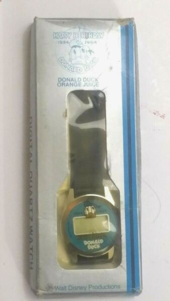 DONALD DUCK ORANGE JUICE WATCH 1984 HAPPY BIRTHDAY Digital Quartz DD-349)
