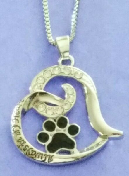 **NEW** Best Dog Paw Necklace For Women Love Always In My Heart Engraved $6.99