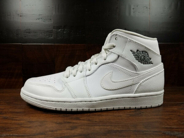 Air Jordan 1 Mid Retro AJ1 (White / Cool Grey) [554724-102] Mens 8-13
