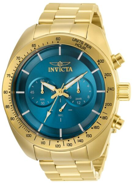 Invicta 30033 Speedway Men's 48mm Chronograph Gold-Tone Blue Dial Watch
