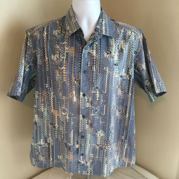 Jhane Barnes Frequency Mens Club Shirt Large Short Sleeve Abstract Blue FS!
