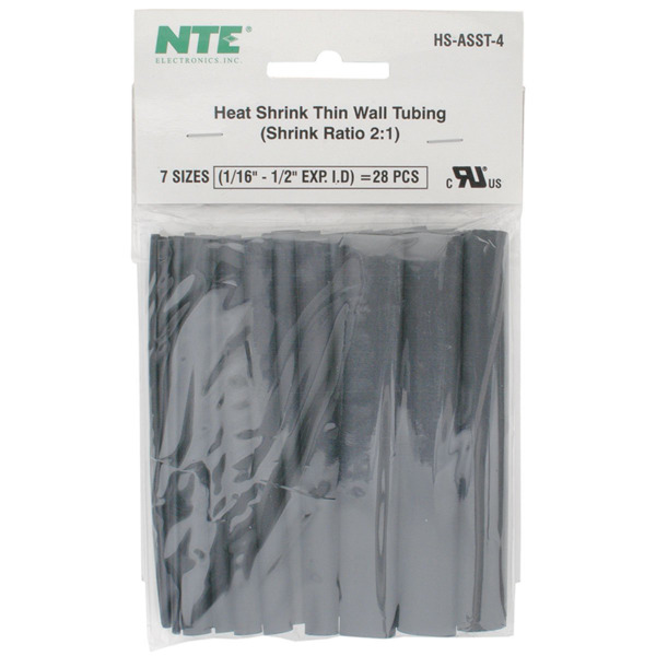 NTE Electronics HS ASST 4 Heat Shrink Assortment Black 4quot; Length 24pcs $6.60