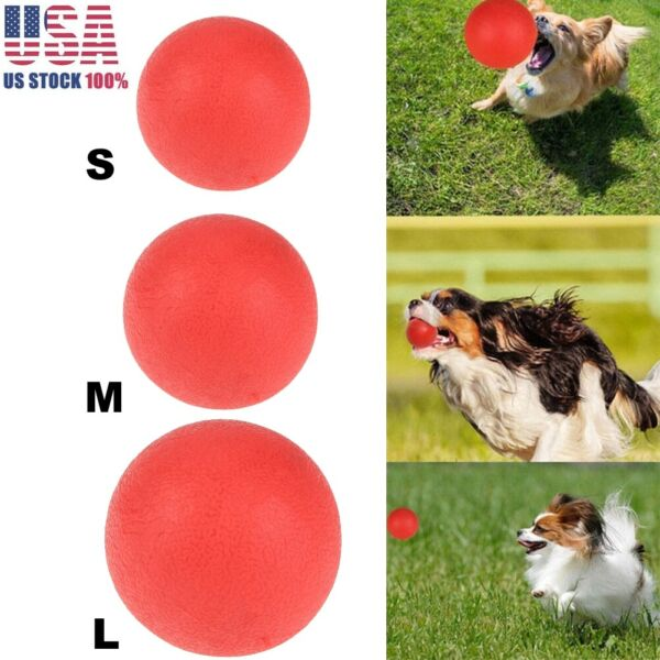 3 Size SML Solid Rubber Ball Pet Dog Toy Training Chew Play Fetch Bite Toys US