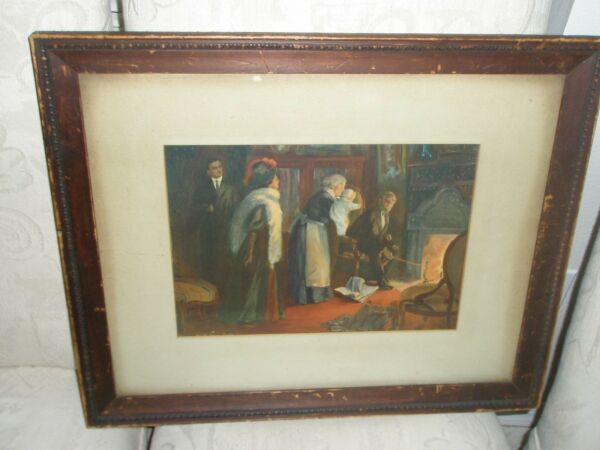 EARLY LITHO ALFRED JAMES DEWEY FAMILY AND BABY  OVER LOOKING FIREPLACE SIGNED