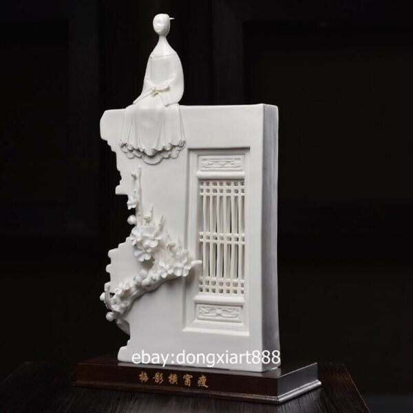 China White Glaze dehua Porcelain Pottery Young Women Girl on the wall sculpture