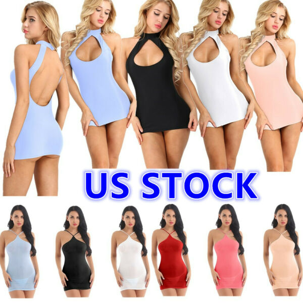 Sexy Women Stretchy Silky See Through Babydoll Lingerie Mesh Chemise Mini Dress