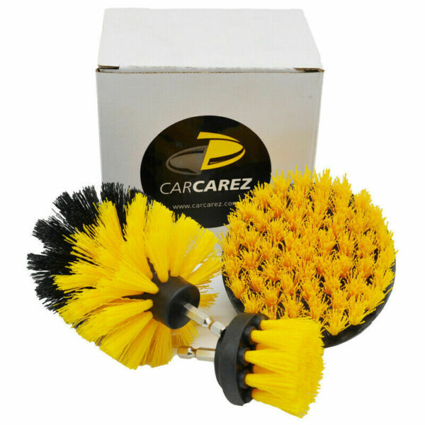 3Pcs/Set drill brush for Car Carpet wall and Tile cleaning MEDIUM DUTY(YELLOW)