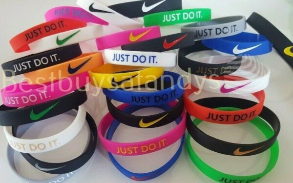 Nike JUST DO IT Sports 3D Silicone Wristband Baller Bands Bracelets Swoosh Logo $4.99