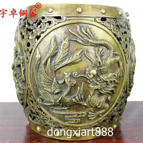 Chinese Ancient Lucky dragon and phoenix double happiness Round Garden Stool