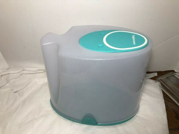 Tupperware Cereal Storer  Container Teal Blue  Flip Up Lid Hard to find # 4002A