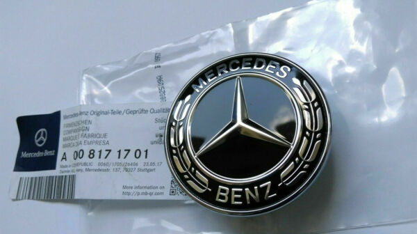 NEW Mercedes-Benz Hood Black Flat Laurel Wreath Badge Emblem #0008171701 57mm