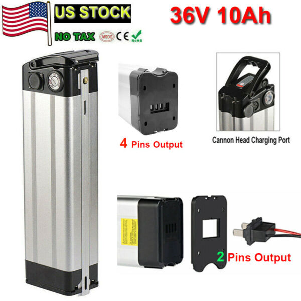 X GO 36V 10AH Silver Fish 350W Lithium Electric Bicycle E bike Bike Battery Pack $223.24