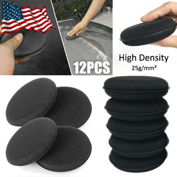 US 12 X High Density Car Waxing Polish Foam Sponge Detailing Applicator Pad Set