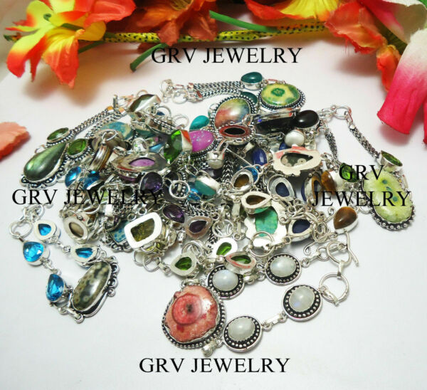 Wholesale Lot Mixed Gemstone Chain Bracelets 925 Sterling Silver Overlay