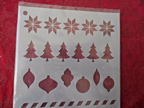 New  Stencil - CHRISTMAS TREES ORNAMENTS & MORE 6