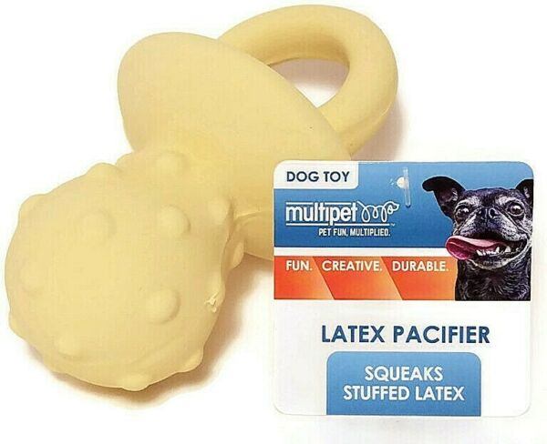 Multipet Pacifier Shaped Exercise Chew Latex Squeaky Dog Toy Puppy Yellow 4