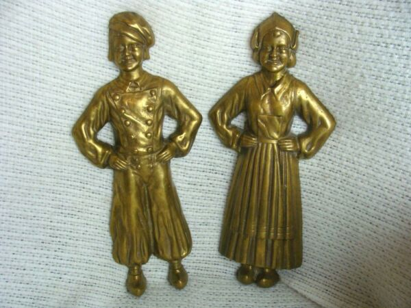 Antique Sheffield Dutch Boy and Girl Brass Pair Andirons FRONTS ONLY Fireplace