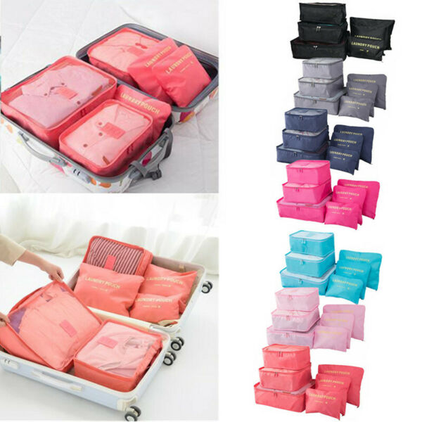 6PcsSet Travel Storage Bag for Clothes Luggage Packing Cube Organizer Suitcase