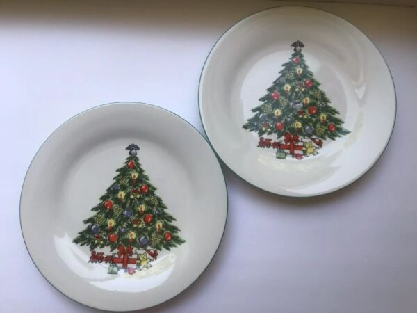 Christmas Tree Stoneware Plates 10 3 4quot; Set of 2 Cookie Platter Buffet Dishes