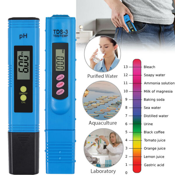 Digital Water Quality TDS Tester PH Water Purity Meter TEMP PPM Filter Unit US $14.85