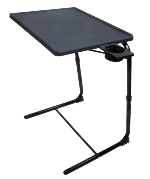Portable & Foldable Comfortable Adjustable TV Tray Table Stand + Cup Holder NEW