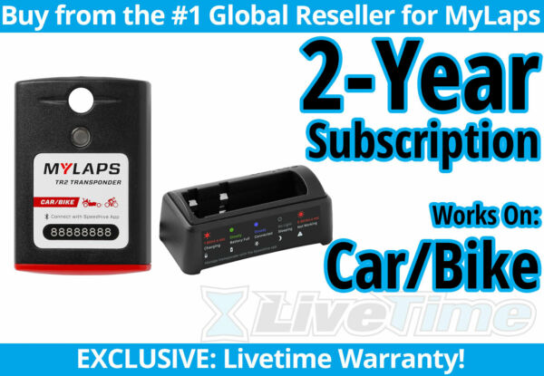 MyLaps TR2 Car Bike Rechargeable Transponder w 2 year Subscription $239.00