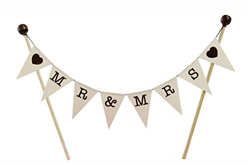 amazing buntings MRamp;MRS Brown Hearts Bunting Cake Topper Fully Assembled Wedding
