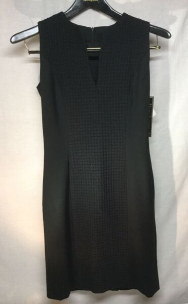 Dara Lamb Haute De Gamme Fitted Black Dress Size 2 NWT Lined Orig. Cost $1750 $997.00