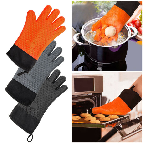 Silicone Oven Mitts Resistant Gloves Holders Kitchen BBQ Baking Cooking Mitts US