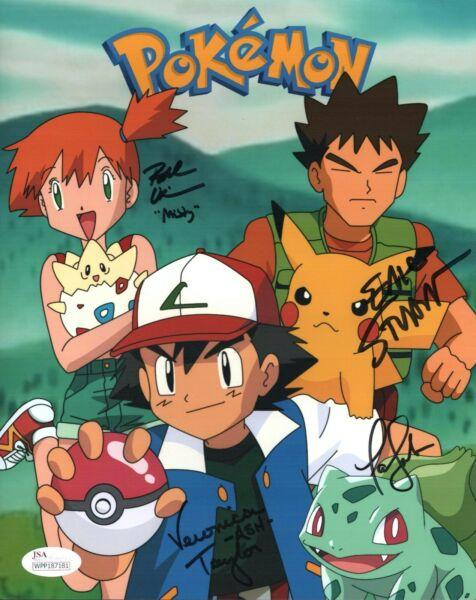 Veronica Taylor POKEMON Cast X3 Signed 8x10 Photo In Person Autograph JSA COA