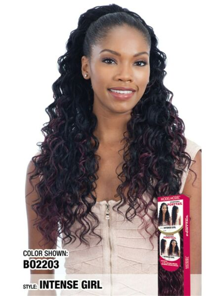 Model Model Drawstring Ponytail Curly Long Style Hair Extension - Intense Girl