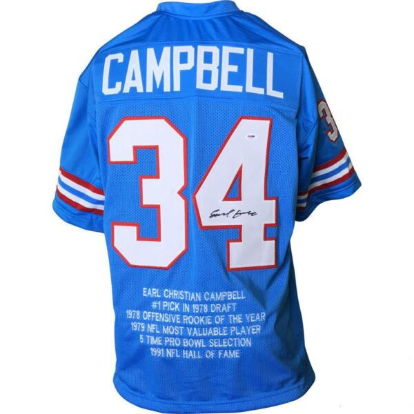 EARL CAMPBELL SignedAuto Autographed Oilers Jersey BLUE STAT PSA Autographed