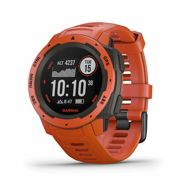 Garmin Instinct Rugged Outdoor Watch with GPS and Heart Rate Monitoring Flame