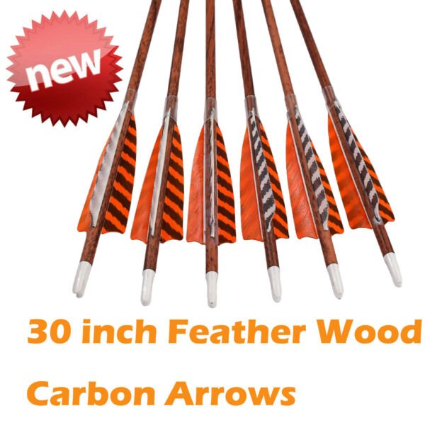 30quot; Feather Carbon Arrows Wood Camo Shaft SP400 Traditional Bow Shooting $39.98