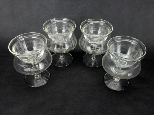 Shrimp Cocktail Icer Glasses 2-Piece Set of 4 Etched Wheat Pattern Stemware