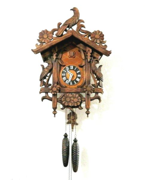 Germany Black Forest Cuckoo Clock Birds Large 19quot; signed Jacobson