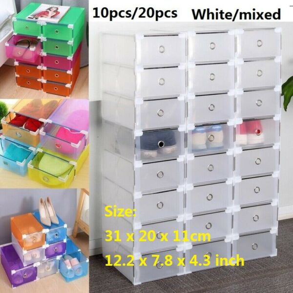 1020X Plastic Stackable Shoe Storage Organiser Drawer Box Metal Frame Wardrobe