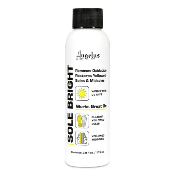 Angelus Sole Bright 4 oz Bottle Removes Yellowing Cleans Yellowed Sneakers Shoes