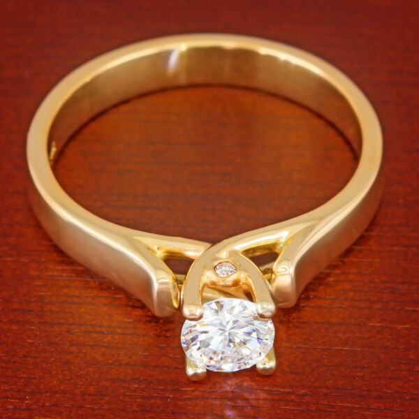 12 ct Colorless VS Diamond Solitaire Cathedral Ring 14k Yellow Gold Half Carat