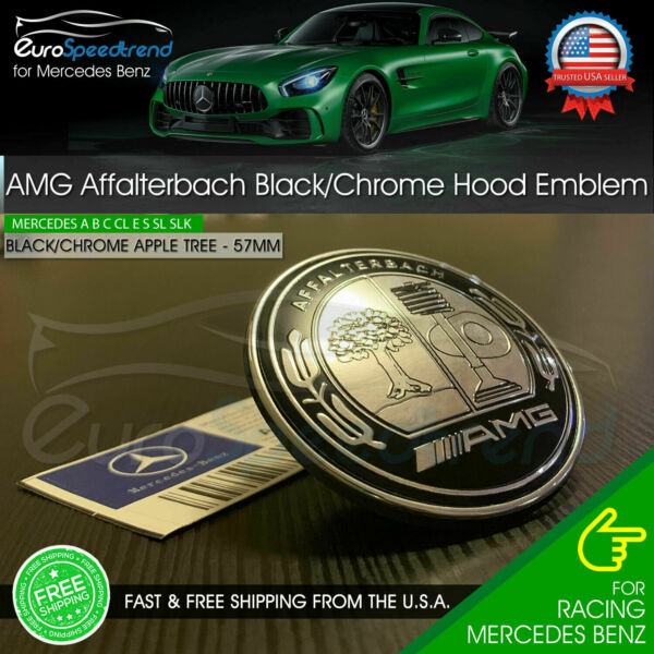 AMG Hood Emblem Flat Affalterbach Black Chrome Apple Badge Mercedes Benz 57mm