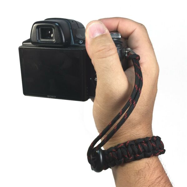 Thin Red Line Handmade Adjustable Cobra Paracord DSLR Camera Safety Wrist Strap