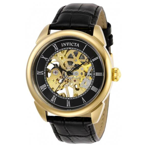 Invicta Men's Watch Specialty Mechanical Skeleton Dial Black Leather Strap 28811