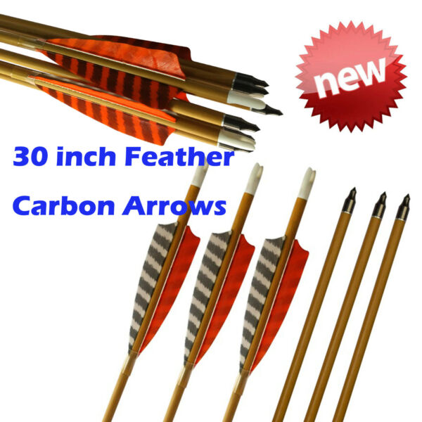 30quot; Feather Carbon Arrows SP600 Wood Camo Shaft Archery Outdoor Target Hunting $33.47