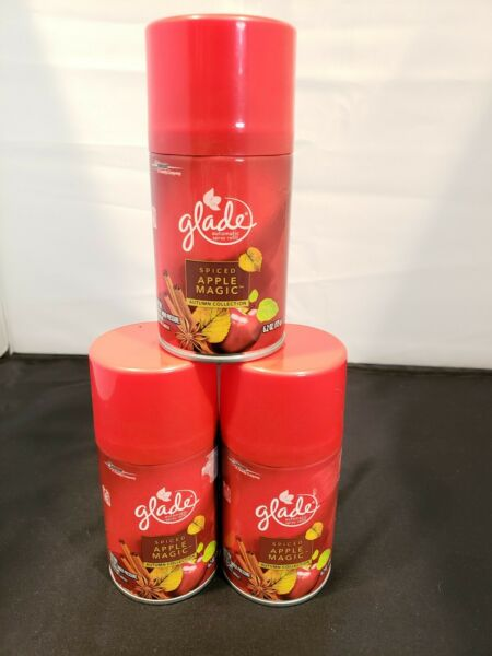 3 Glade SPICED APPLE MAGIC Automatic Spray Refills Autumn Collection