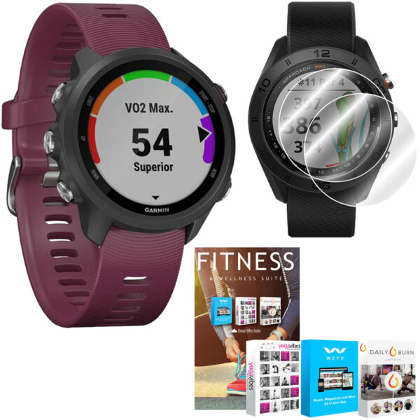 Garmin Forerunner 245 GPS Sport Watch (Berry) + Home Fitness Suite Bundle