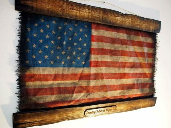 American Flag Rustic Wall Decor Handmade Artwork Painted on Distressed Burlap