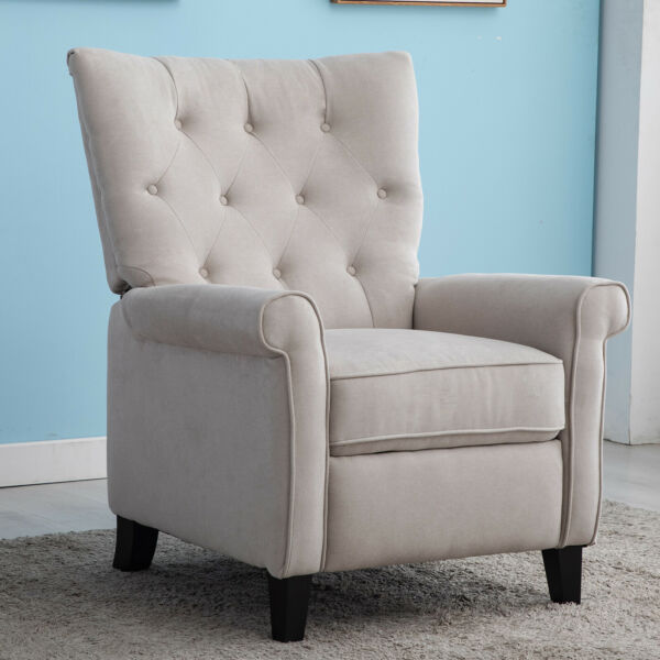 Recliner Chair Manual Push Back Sofa Single Chaise Padded Seat Accent Chair Gray