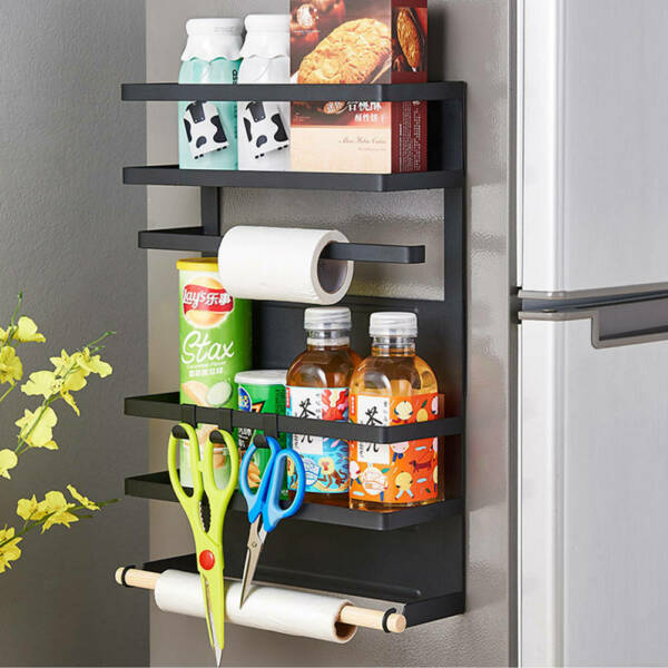 4 Tiers Kitchen Rack Magnetic Refrigerator Storage Fridge Organizer Shelf US