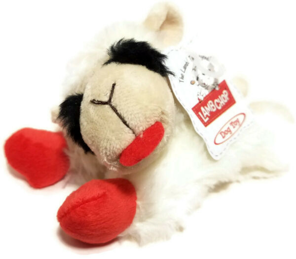 Multipet Small Lamb Chop Plush Dog Toy Squeaky Squeaker Fetch White Red 6